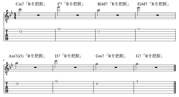 2弦と1弦のルート把握