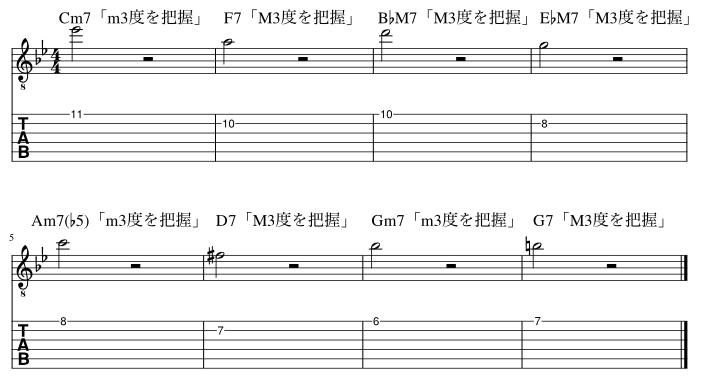 2弦と1弦の3度把握