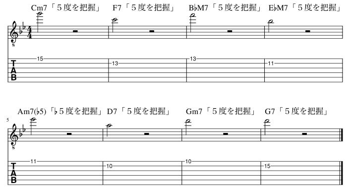 2弦と1弦の5度把握