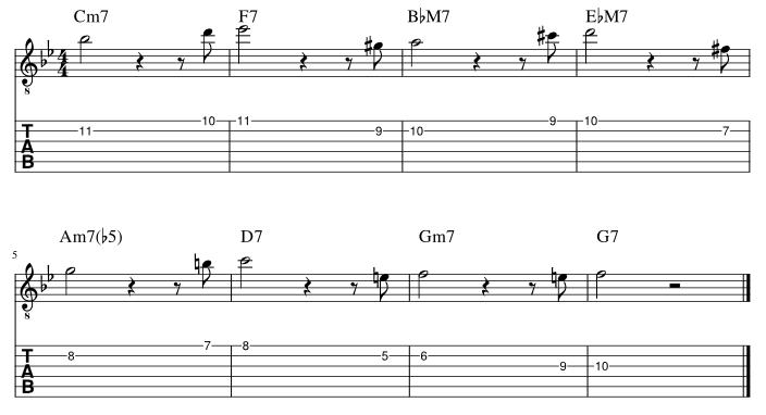 2弦と1弦の7度に半音下からアプローチ