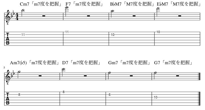 2弦と1弦の7度把握