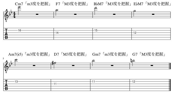 3度のコードトーン把握練習例8