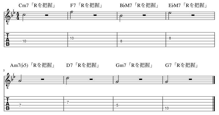 4弦と3弦のルート把握