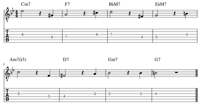 4弦と3弦の3度に半音下からアプローチ