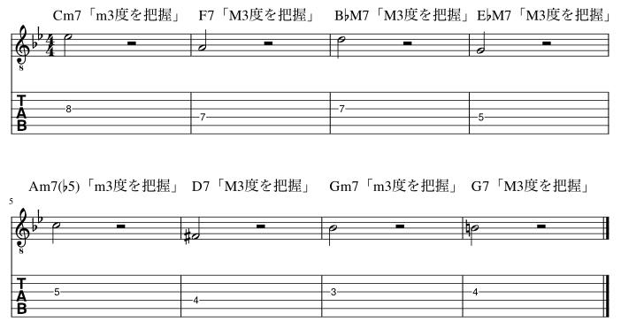 4弦と3弦の3度把握