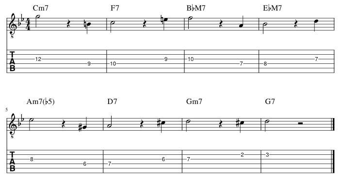 4弦と3弦の5度に半音下からアプローチ