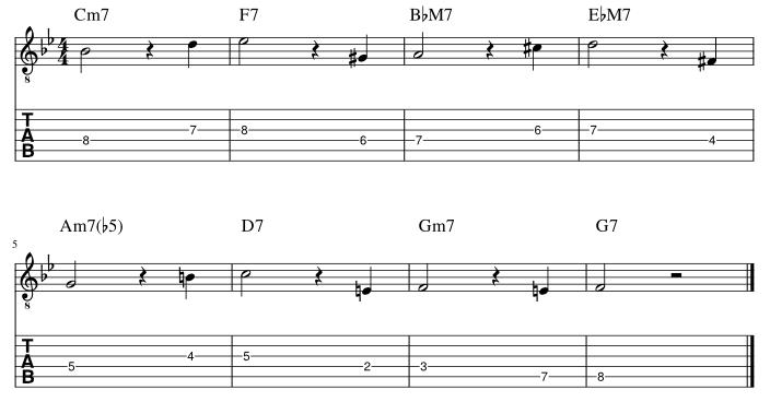 4弦と3弦の7度に半音下からアプローチ