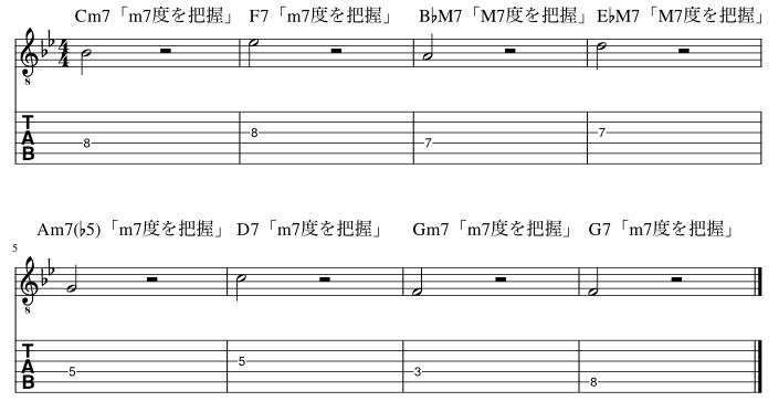 4弦と3弦の7度把握