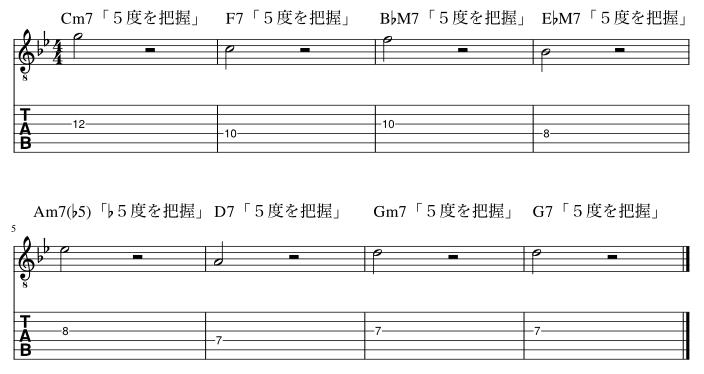 5度のコードトーン把握練習例3