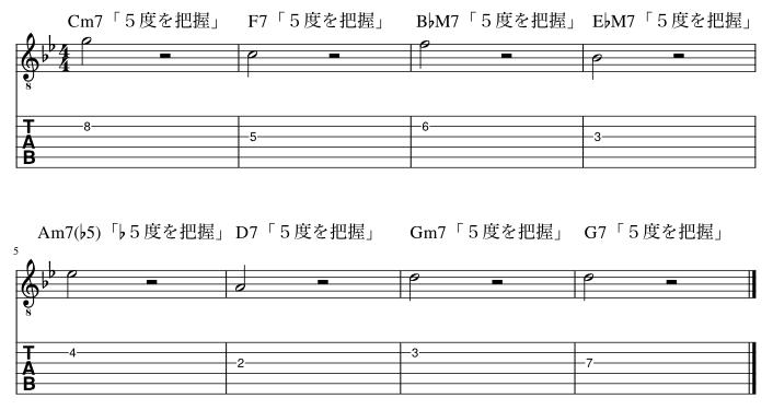 5度のコードトーン把握練習例4