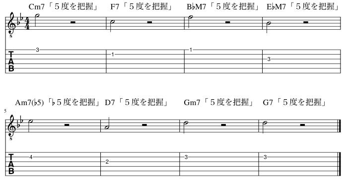 5度のコードトーン把握練習例5