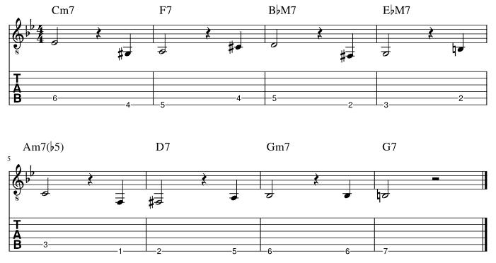 6弦と5弦の3度に半音下からアプローチ
