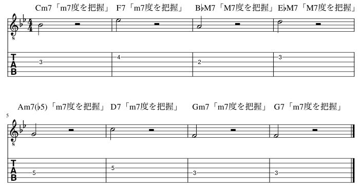 7度のコードトーン把握練習例3