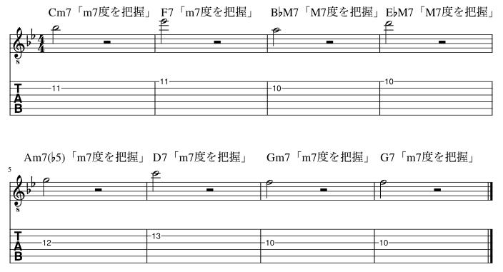 7度のコードトーン把握練習例4
