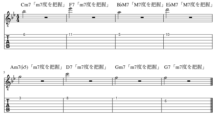 7度のコードトーン把握練習例6