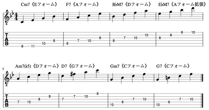 アルペジオのポジションを限定してスタンダードを弾く練習_楽譜