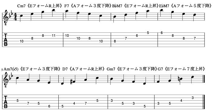 コードアルペジオ同士の繋がりを意識した実践練習_楽譜