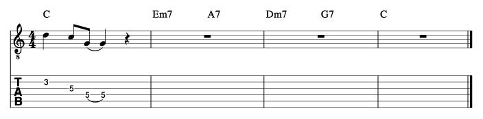 セントトーマス風コード進行_ピックアップフレーズ使い方例1_楽譜