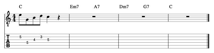 セントトーマス風コード進行_ピックアップフレーズ使い方例2_楽譜