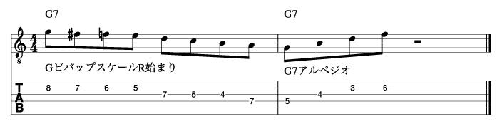 ビバップスケール応用フレーズ1_楽譜