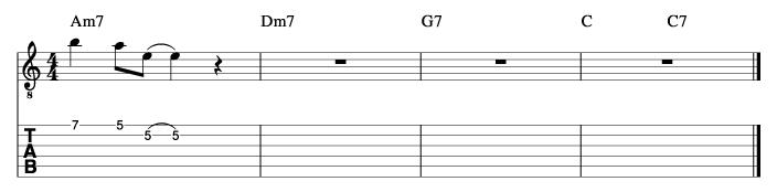 フライミートゥザムーン風コード進行_ピックアップフレーズ使い方例1_楽譜