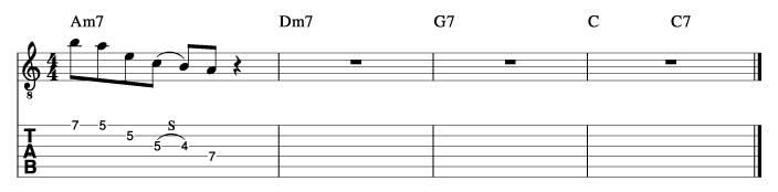 フライミートゥザムーン風コード進行_ピックアップフレーズ使い方例2_楽譜