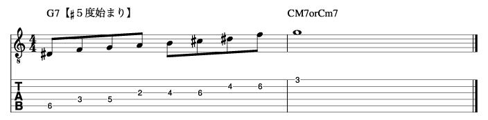 ホールトーンフレーズ1_楽譜