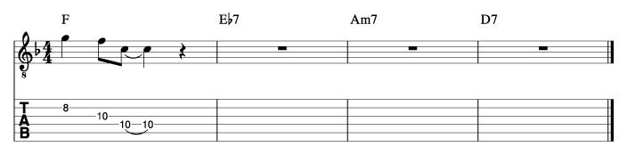 酒とバラの日々風コード進行_ピックアップフレーズ使い方例1_楽譜