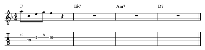 酒とバラの日々風コード進行_ピックアップフレーズ使い方例2_楽譜