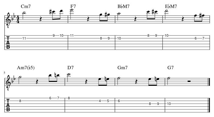 2弦と1弦の7度にダブルクロマチックアプローチ譜例