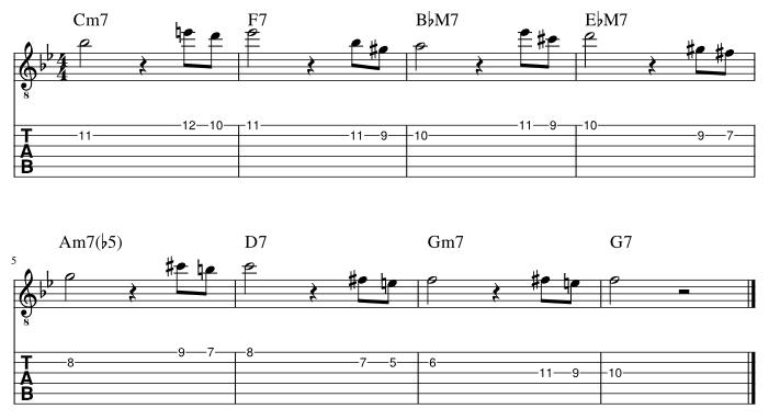 2弦と1弦の7度に挟み込みアプローチパターン1_譜例
