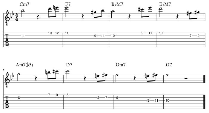2弦と1弦の7度に挟み込みアプローチパターン2_譜例