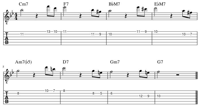 2弦と1弦の7度に挟み込みアプローチパターン3_譜例
