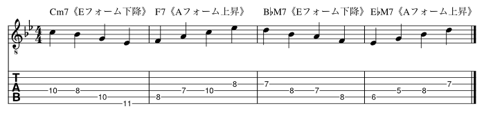 3小節目を長3度から下降した場合_楽譜