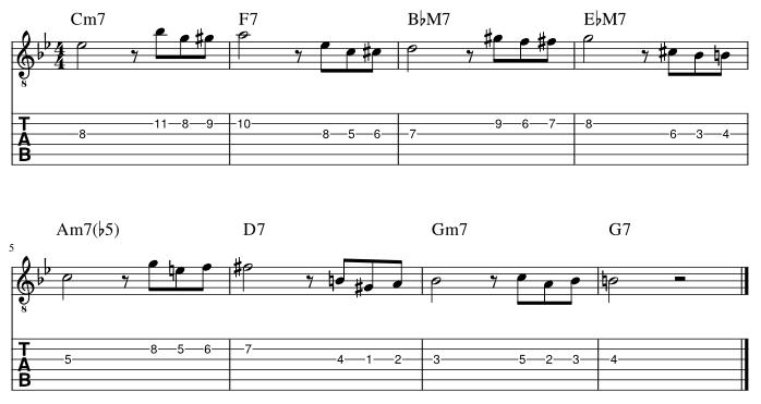 3弦と2弦の3度にディレイドリゾルブ譜例