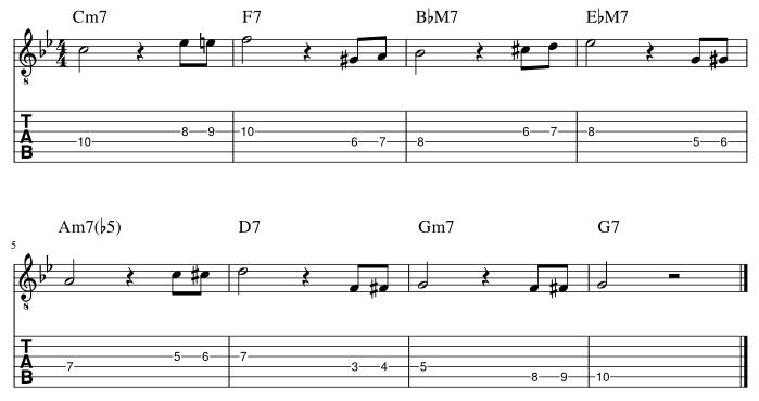 4弦と3弦のルートにダブルクロマチックアプローチ譜例