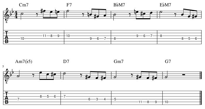 4弦と3弦のルートにディレイドリゾルブ譜例