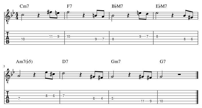 4弦と3弦のルートに挟み込みアプローチパターン1譜例