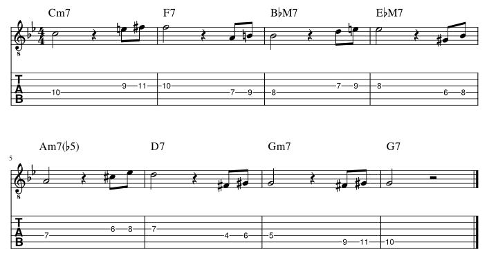 4弦と3弦のルートに挟み込みアプローチパターン2譜例