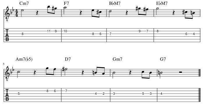 4弦と3弦の3度に挟み込みアプローチパターン1譜例