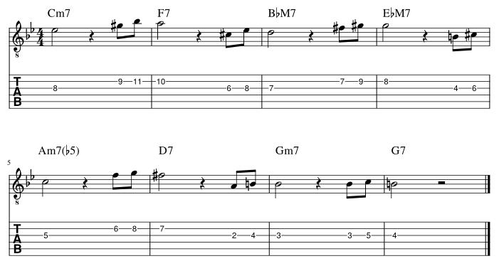 4弦と3弦の3度に挟み込みアプローチパターン2_譜例