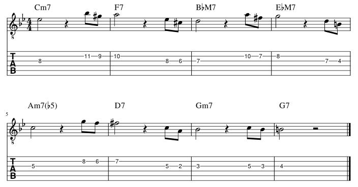 4弦と3弦の3度に挟み込みアプローチパターン3譜例
