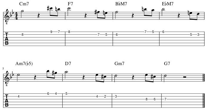 4弦と3弦の5度に挟み込みアプローチパターン1譜例