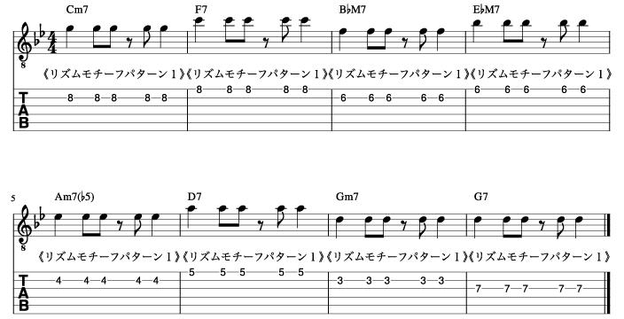 5度にリズムモチーフパターン1を使用した練習譜例