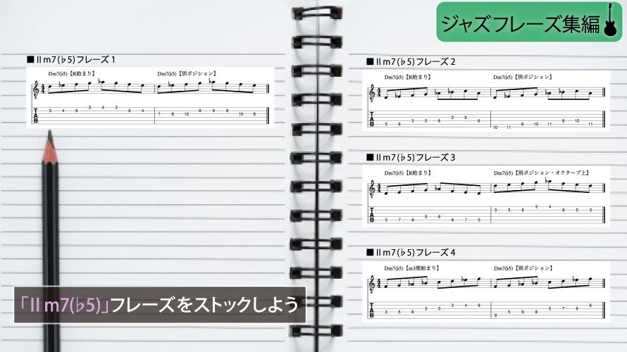 Ⅱm7(♭5)フレーズのストックの仕方説明図