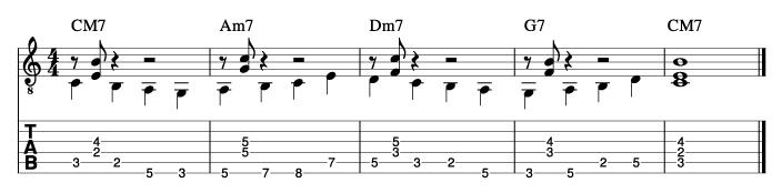 ウォーキングベースラインに和音を付けた例10_楽譜
