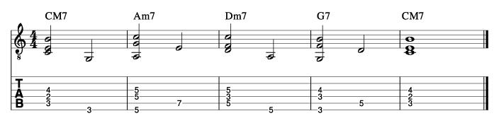 ウォーキングベースラインに和音を付けた例1_楽譜
