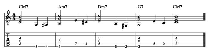 ウォーキングベースラインに和音を付けた例2_楽譜