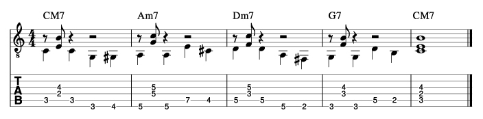 ウォーキングベースラインに和音を付けた例4_楽譜