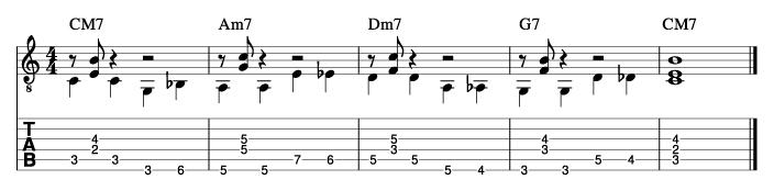ウォーキングベースラインに和音を付けた例5_楽譜